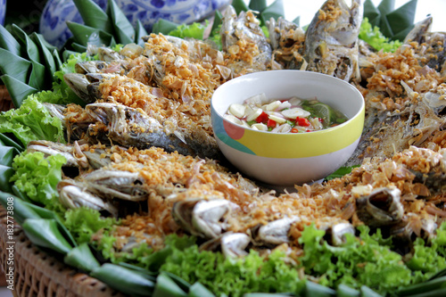 fried mackerel with spicy sauce and vegetable
