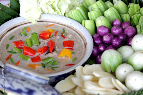 stew mackerel with coconut milk dip with fresh vegatables