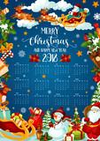 Christmas holiday calendar of 2018 New Year design - 182776623