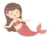 Cute Mermaid Girl princess red vector illustration cartoon character design isolated on white background.