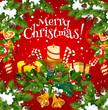 Christmas holiday card of New Year gift garland