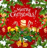 Christmas holiday card of New Year gift garland - 182778637