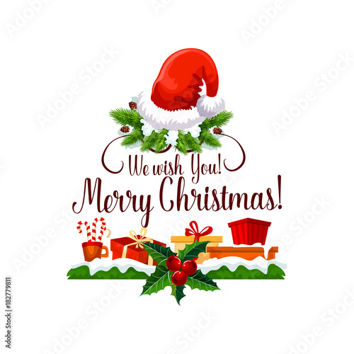 Tuinposter Hoogte schaal Merry Christmas happy holiday design