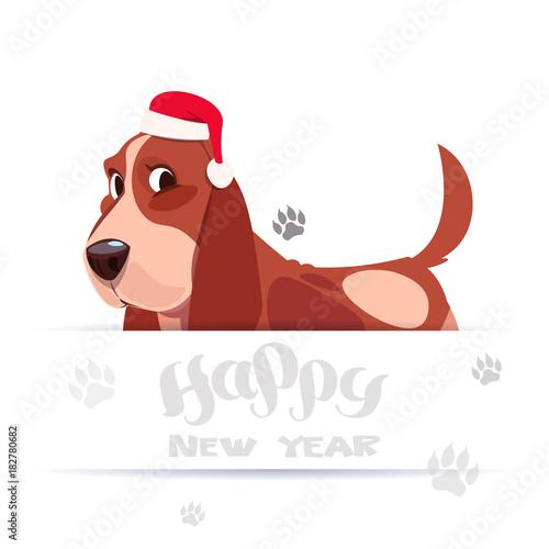 Cute Basset Dog In Santa Hat On Happy New Year Greeting Card Holiday Lettering Banner Over Foot Prints On White Background Flat Vector Illustration