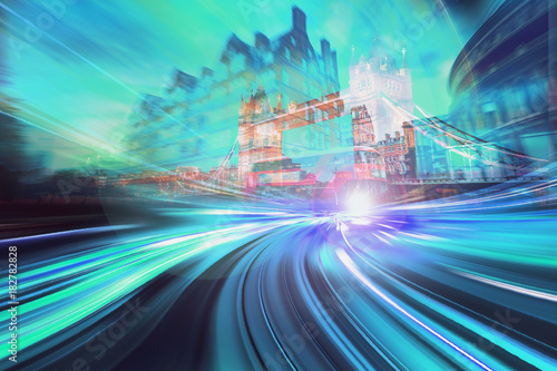 Staande foto Londen Abstract motion speed background of London City