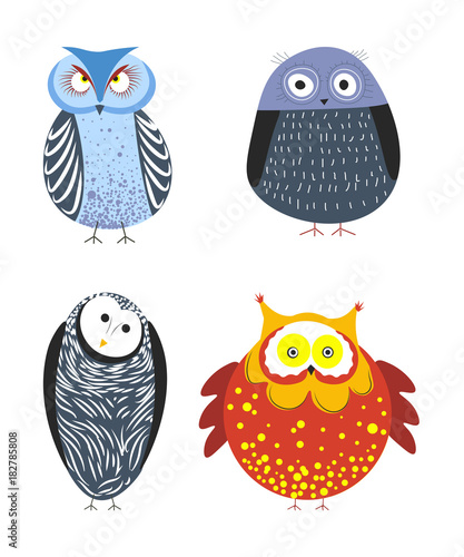 Foto op Canvas Uilen cartoon Owls cartoon kid funny characters with feather ornament.