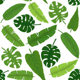 Seamless Pattern of Tropical Leaves. Vector Illustration in Watercolor Style - 182786824