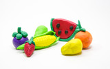 clay mold Mixed Fruit on white background., kid hand. - 182787482