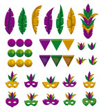 set of colorful mask with feathers festoons and beads on a string vector illustration - 182790646