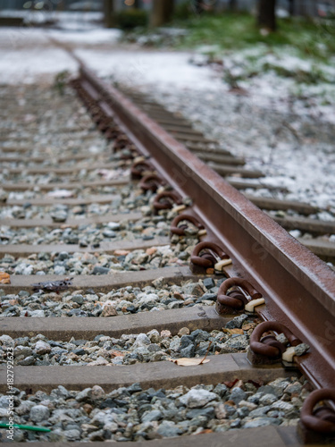Fotobehang Spoorlijn snow covered rail road
