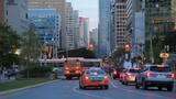 Busy street in the city of Toronto at dusk. Province of Ontario, Canada - 182793884
