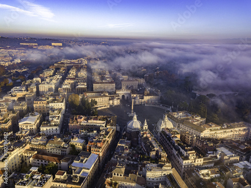 Foto op Canvas Parijs Aerial drone panoramic cityscape, architecture and landmark. View of Rome from the top, Italy