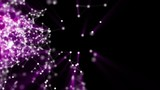 Abstract background of the particle. purple particles move slowly on a black background - 182797692