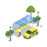 Taxi cab stop isometric 3D icon - 182798638