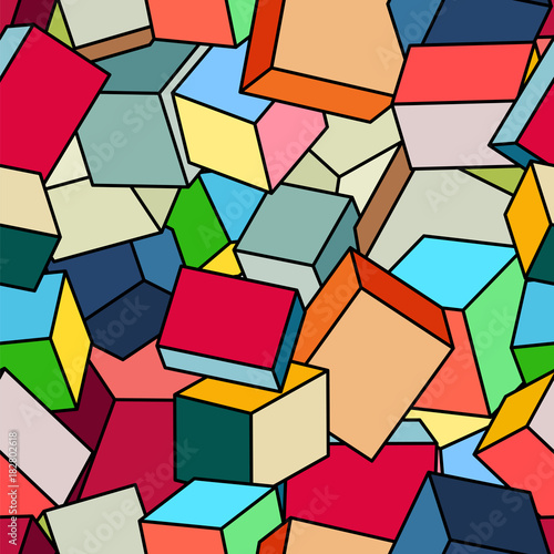 Abstract pattern of cubes. Seamless geometric background - 182802618