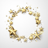 Round winter background with stars and snowflakes. - 182809403