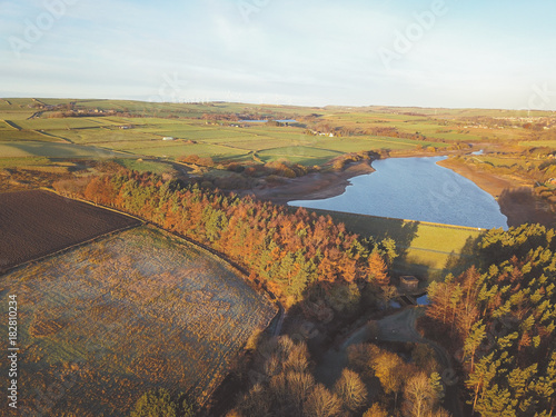 Foto op Plexiglas Wit drone aerial view of water and trees countryside