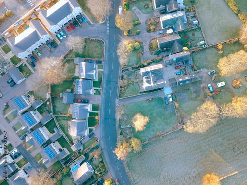 drone aerial view of school building and residential houses  - 182810257