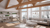 Living room of luxury eco house, parquet floor and wooden roof trusses, panoramic window on winter meadow, modern white interior design - 182814050
