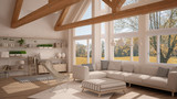 Living room of luxury eco house, parquet floor and wooden roof trusses, panoramic window on autumn meadow, modern white interior design - 182814473