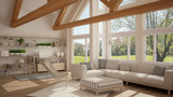 Living room of luxury eco house, parquet floor and wooden roof trusses, panoramic window on summer spring meadow, modern white interior design - 182814624