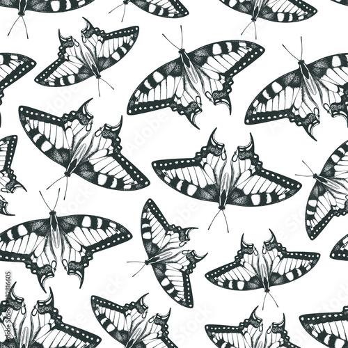 Deurstickers Vlinders in Grunge Machaon butterfly. Hand drawn vector seamless pattern.