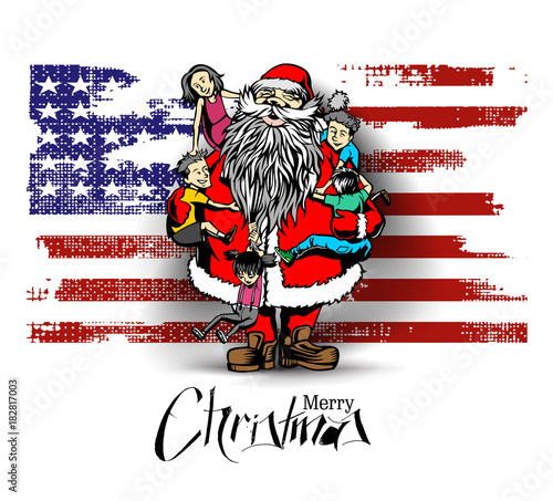 Little cute boy and girls hugging Santa Claus - Christmas Scene