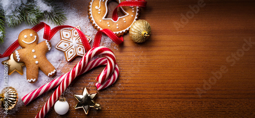 Christmas holidays ornament flat lay; Christmas card background   - 182821692