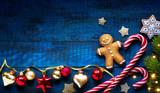 Christmas holidays ornament flat lay; Christmas card background - 182821849
