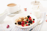 Tasty and healthy oatmeal porridge with berry, flax seeds and nuts. Healthy breakfast. Fitness food. Proper nutrition. - 182832294