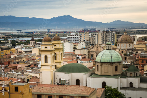 Sticker Architecture of Cagliari in Sardinia. Very popular place to visit in Italy