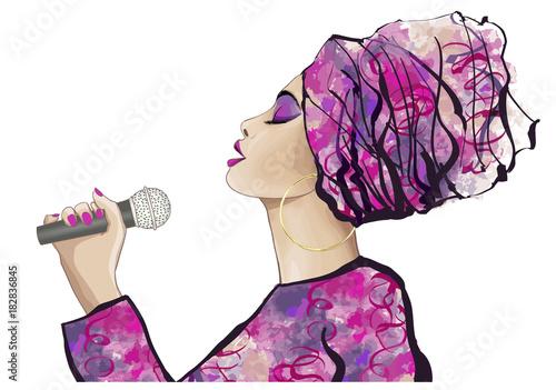 Staande foto Art Studio African Jazz singer