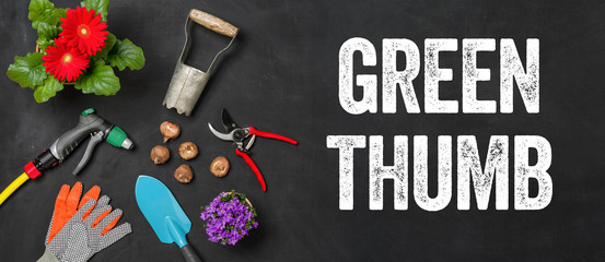 Garden tools on a dark background - Green thumb