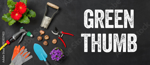 Garden tools on a dark background - Green thumb