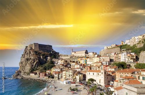 Aerial view of Scilla coastline in Calabria, Italy