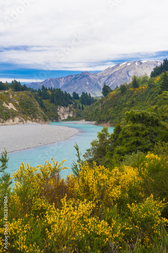 Fotobehang Fyle Rakaia Gorge and Southern Alps