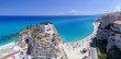 Tropea panoramic coastline and castle, aerial view of Calabria