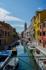 Venedig Häuser Kanal Brücke Boote