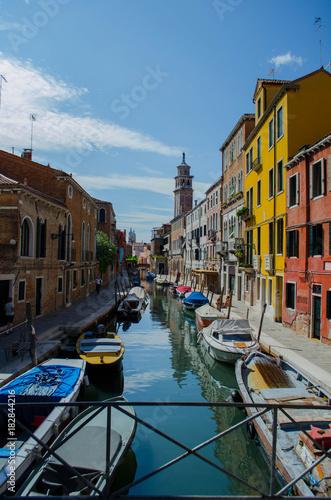 Foto op Canvas Venetie Venedig Häuser Kanal Brücke Boote