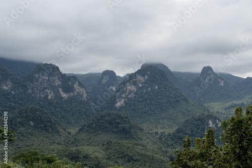 Deurstickers Bleke violet Phachao, Phoukhoun cliff mountain