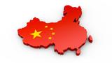 China - 3D Karte oder Umriss - 182844603