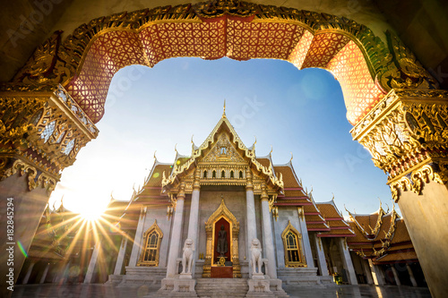 Foto op Aluminium Bangkok Bangkok City - Benchamabophit dusitvanaram temple from Bangkok Thailand