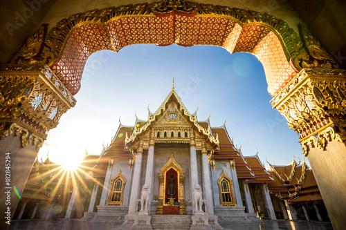 Staande foto Bangkok Bangkok City - Benchamabophit dusitvanaram temple from Bangkok Thailand