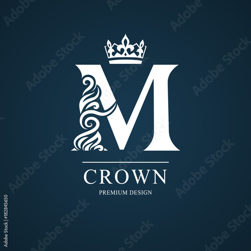 Elegant Letter M Graceful Royal Style Calligraphic Beautiful Logo
