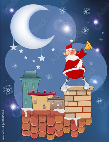 Staande foto Babykamer Illustration of the Cute Santa Claus Jazz Trumpet on the Roof