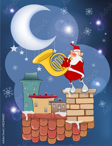 Staande foto Babykamer Illustration of the Cute Santa Claus French horn Player on the Roof
