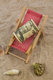 deck chair with piggy bank and dollars - 182847238