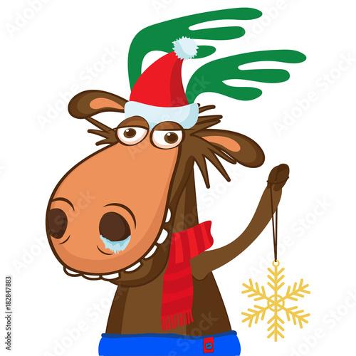 Fotobehang Hipster Hert Santa Claus's Reindeer. Moose Portrait In A Santa Cap. Funny Cartoon Smile Deer Vector Holyday Image. Funny Deer With Snowflake.