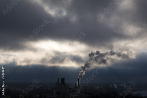 the smoke from the plant in cloudy weather