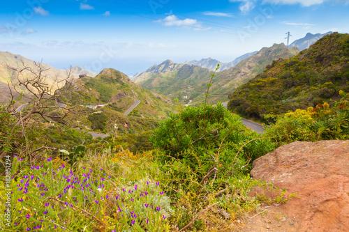 Deurstickers Canarische Eilanden North Tenerfe island mountain panorma